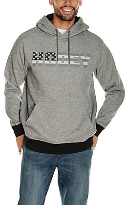 HOOey Men's Patriot Grey with Tonal American Flag Logo Hooded Sweatshirt