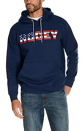 HOOey Men's Patriot Navy with American Flag Logo Hooded Sweatshirt