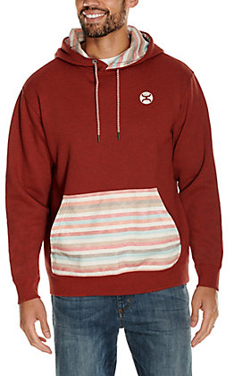 HOOey Men's Baja Red with Striped Pocket Hooded Sweatshirt