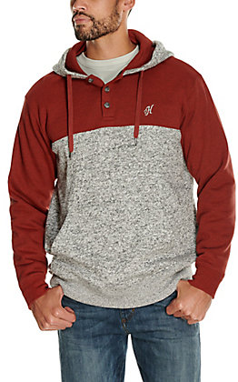 HOOey Men's Jimmy Grey and Rust Hooded Pullover Jacket