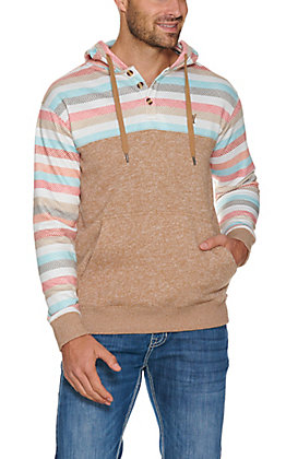 HOOey Men's Baja Jimmy Tan with Stripes Hooded Pullover Jacket