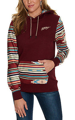 HOOey Women's Burgundy with Serape Print Hoodie