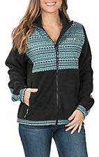 HOOey Women's Black and Turquoise Fleece Jacket