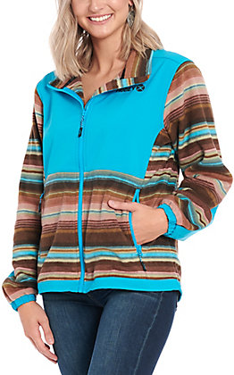 Hooey Women's Turquoise Soft Shell with Serape Fleece Jacket