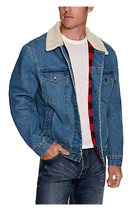 HOOey Men's Denim with Buffalo Plaid Blanket Lining and Sherpa Vest Jacket