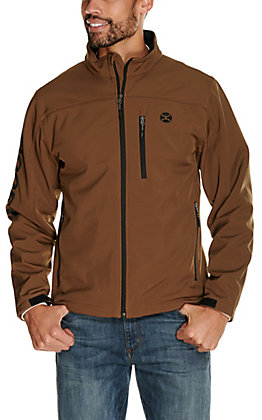 HOOey Men's Brown and Black Logos Softshell Jacket