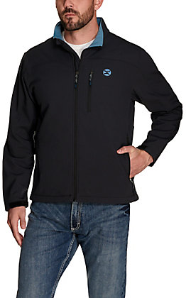 Hooey Men's Navy with Dusty Blue Fleece Lining Softshell Jacket