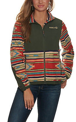 Hooey Women's Olive Aztec Print Fleece Long Sleeve Jacket