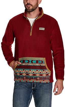 Hooey Men's Maroon with Aztec Pocket Fleece Pullover Jacket