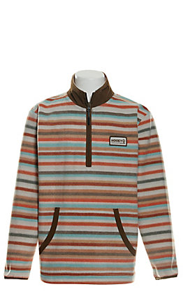 HOOey Youth Cream, Orange and Turquoise Stripes Fleece Pullover Jacket