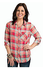 Karlie Women's Melon Multicolor Plaid Long to 3/4 Tab Sleeve Blouse