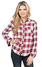 Karlie Women's Red & White Plaid Button Front Long Sleeve Top