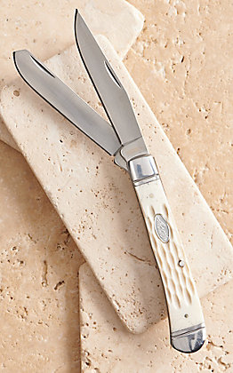 HOOey White Pick Bone Trapper Knife