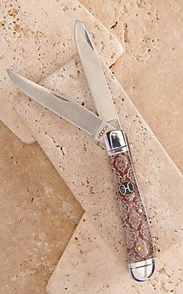 Hooey Snakeskin Acrylic Large Trapper Knife