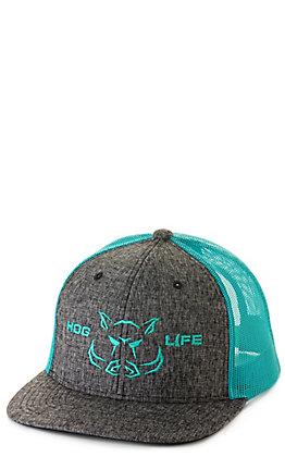 Hog Life Sunset Black Denim with Turquoise Mesh Embroidered Logo Cap