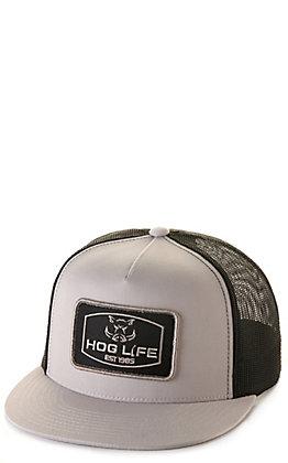 Hog Life Bullet Light Grey with Black Mesh Logo Patch Cap