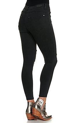 Grace in LA Women's Distressed Black Button Up Skinny Leg Jeans