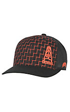 HOOey Oil Gear Black & Orange Grid with Oil Derrick Logo & Mesh Back Cap