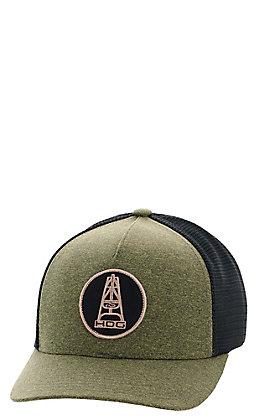 HOOey Men's Olive Green and Black Hog Mesh Snapback Cap