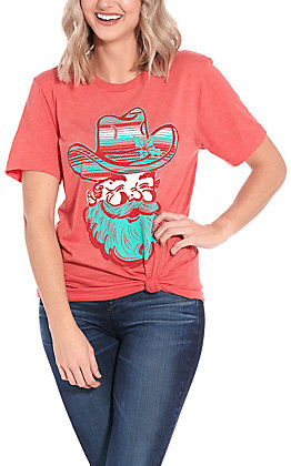 Crazy Train Women's Holly Jolly Red Serape Santa Graphic Tee