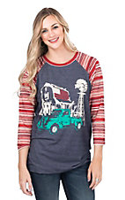 Crazy Train Women's Navy with Farm Screen Print and Red and White Striped Long Sleeves Casual Knit Top