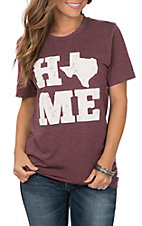 Women's Maroon Home Texas Short Sleeve T-Shirt