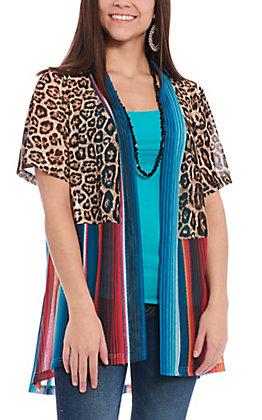 Crazy Train Women's Leopard & Serape Kimono