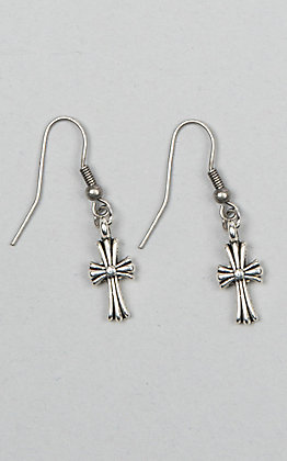 Laminin Hope Brushed Silver Cross Dangle Earrings
