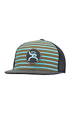 HOOey Olive and Turquoise Stripe with Black Mesh Back Snap Back Cap