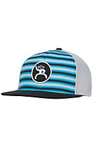 HOOey Navy, Blue & White Stripes with Roughy Patch Mesh Snap Back Cap