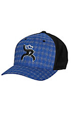 HOOey Roughy Blue Plaid with Black Logo FlexFit Cap HR4325BKBL