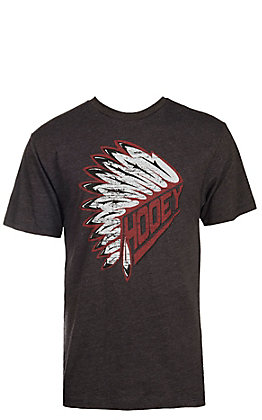 HOOey Men's Charcoal with Red Headdress Logo Short Sleeve T-Shirt