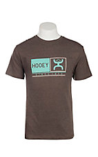 HOOey Men's Brown with Turquoise Roots Logo Short Sleeve T-Shirt