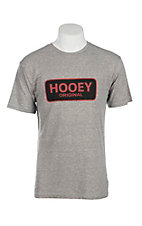 HOOey Men's Grey with Red Original Logo Short Sleeve T-Shirt