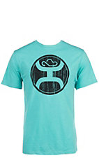HOOey Men's Turquoise with Black Logo Short Sleeve T-Shirt