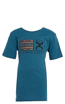 Hooey Boys Blue Aztec Logo Short Sleeve Tee