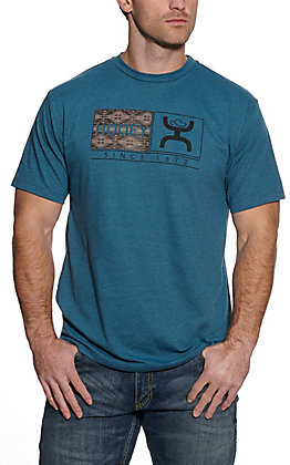Hooey Men's Roots Heather Turquoise with Aztec Logo Short Sleeve T-Shirt