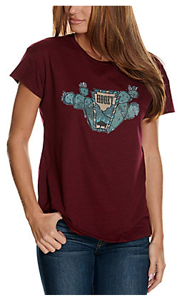 Hooey Women's Maroon Prickly Pear Cactus Logo Graphic Short Sleeve T-Shirt