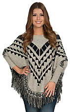 Hot & Delious Women's Taupe & Black Tribal Fringed Poncho Sweater
