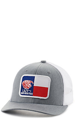 Lazy J Ranch Wear Grey and White with Texas Elevation Patch Snapback Cap
