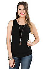 Ethyl Women's Black Sleeveless Casual Knit Layering Tank