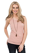 Ethyl Women's Peach Sleeveless Casual Knit Layering Tank
