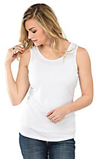Ethyl Women's White Sleeveless Casual Knit Layering Tank