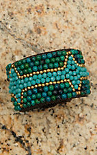 Pannee Dirty Green Teal, Turquoise & Gold Beaded Chocolate Rope Cuff Bracelet