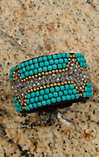 Pannee Dirty Turquoise, Crystal & Gold Beaded Chocolate Rope Cuff Bracelet