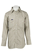 Lapco Tan Plaid Flame Resistant Long Sleeve Western Snap Shirt - Big & Tall