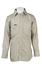 Lapco Tan Plaid Flame Resistant Long Sleeve Western Snap Shirt