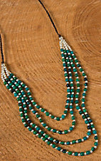 Pannee Dirty Teal Stone & Silver Beaded Multi-Row Chocolate Rope Necklace