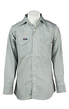Lapco Teal Mini Check Flame Resistant Long Sleeve Western Snap Shirt - BIg & Tall