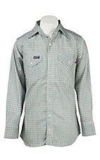 Lapco Teal Mini Check Flame Resistant Long Sleeve Western Snap Shirt